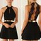 Halter backless lace skater fit and flare black dress – sirenlondon
