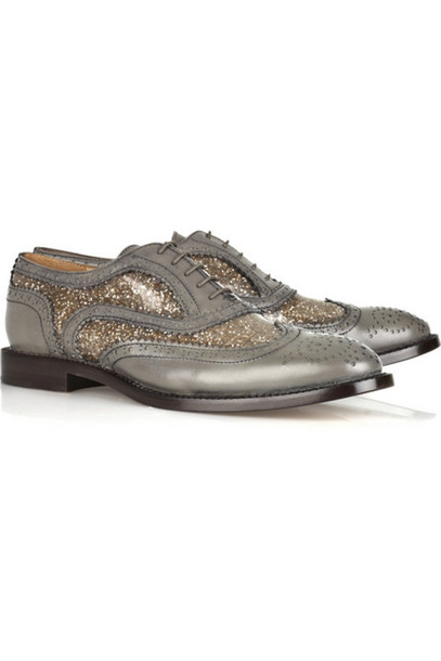oxfords glitter silver gold white shoes