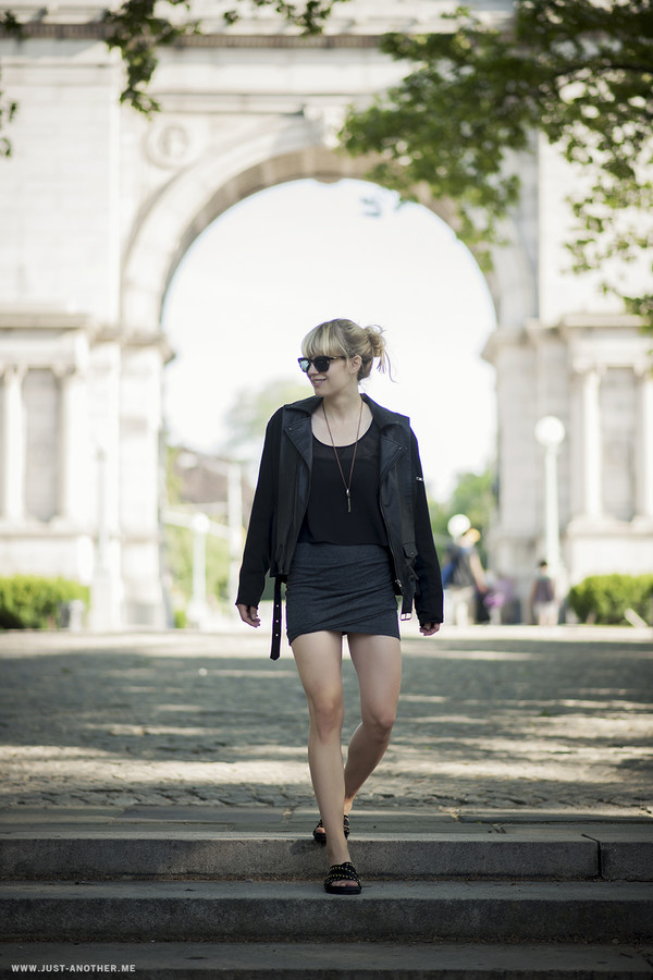 just another me jacket skirt top sunglasses