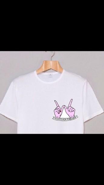 t-shirt whatever forever graphic pocket print pink white sassy tumblr tumblr
