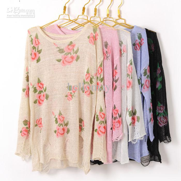 Wholesale Lady Vintage Retro Ragged Hole Rose Flower Knitted Top Jumper Cardigan Pullovers Sweater, $20.44/Piece | DHgate Mobile
