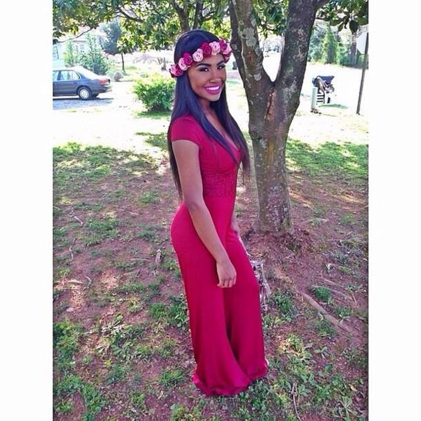 jumpsuit red sleeves floral headband jewels