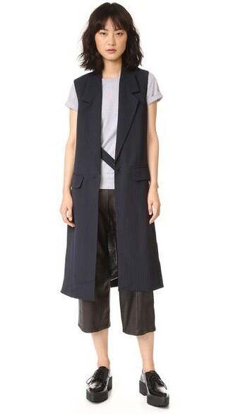 vest long slit navy grey jacket