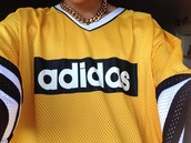 shirt,adidas,jersey,yellow,blouse,short sleeve,t-shirt,adidas originals,90's shirt,adidas jersey,top,white,necklace