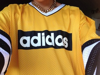 shirt jersey yellow adidas stripes swag oversized t-shirt blouse short sleeve top mesh vintage retro jewels adidas shirt jersey adidas yellow adidas shirt yellow top t-shirt adidas originals 90's shirt yellow jersey adidas hockey jersey sweater black sweater jersey shirt hockey chasuble adidas logo adidas jersey gangsta thug life streetwear fashion style gold cool basketball girly adidasshirt mesh top jacket dope tumblr dress etsy white necklace black white yellow adidas chain black ice hokey sportswear jersery american football football