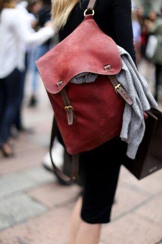 bag red backpack leather backpack hipster