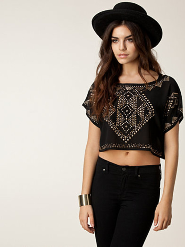 top embellished crop top club l embellished top