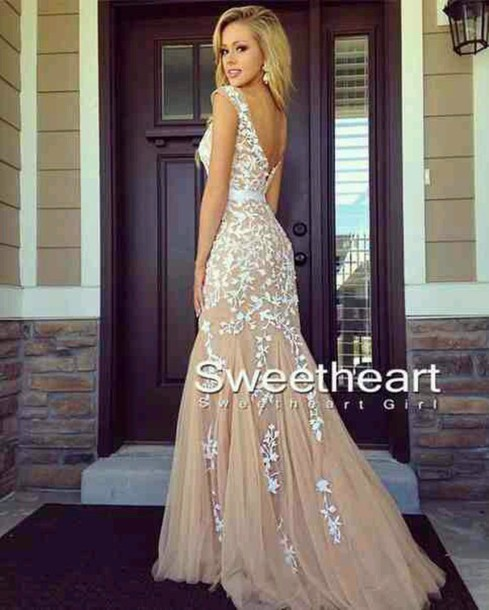 dress tan and white mermaid mermaid/trumpet silhouette backless dress gown prom dress