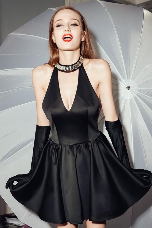 moona v dress neck satin dress satin dress