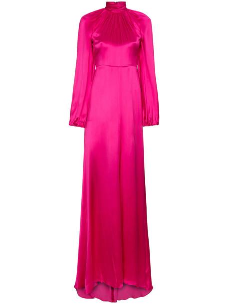 gucci gown maxi high women high neck silk purple pink dress