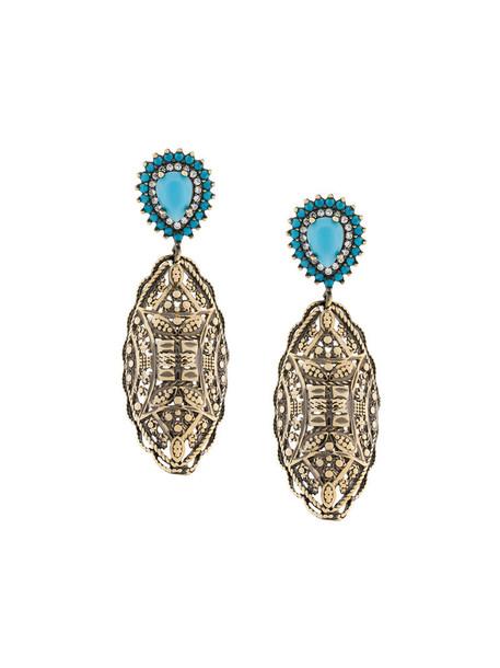 IOSSELLIANI women earrings gold grey turquoise metallic jewels