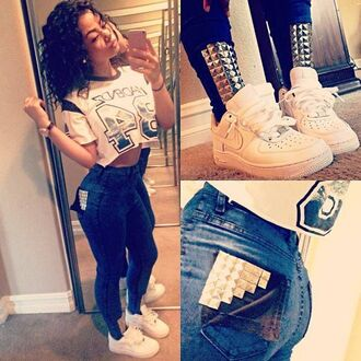 high waisted high waisted jeans accessory swag india westbrooks nike watch pants crop tops shoes urban