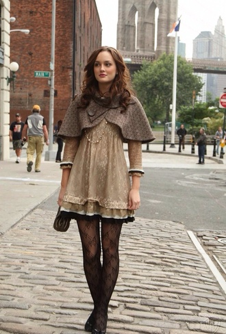 dress cardigan blair waldorf gossip girl blair dress lace dress jacket gossip girl leighton meester coat tights heels brown