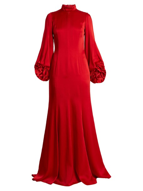 ANDREW GN gown high satin red dress