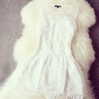 dress white dress lace dress little white dress see through mini dress