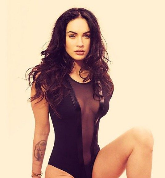 megan fox black jumpsuit bodysuit mesh bodysuit