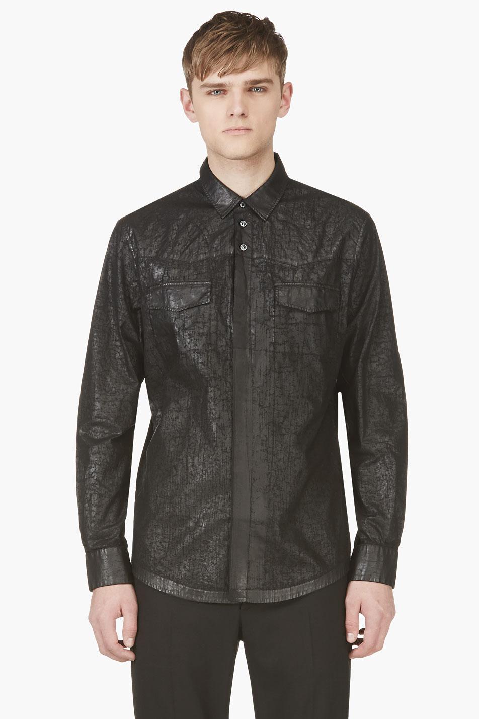 Maison martin margiela black cracked faux leather shirt