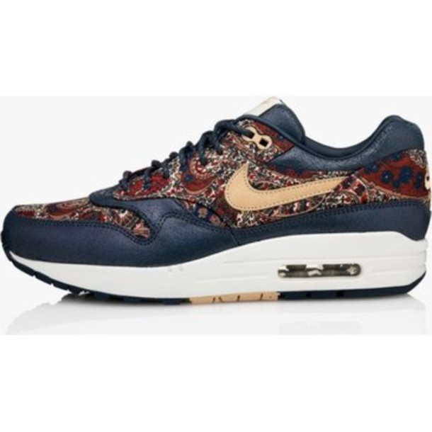 shoes sneakers sneakers liberty london liberty print pattern floral flowers floral nike sneakers paisley paisley air max