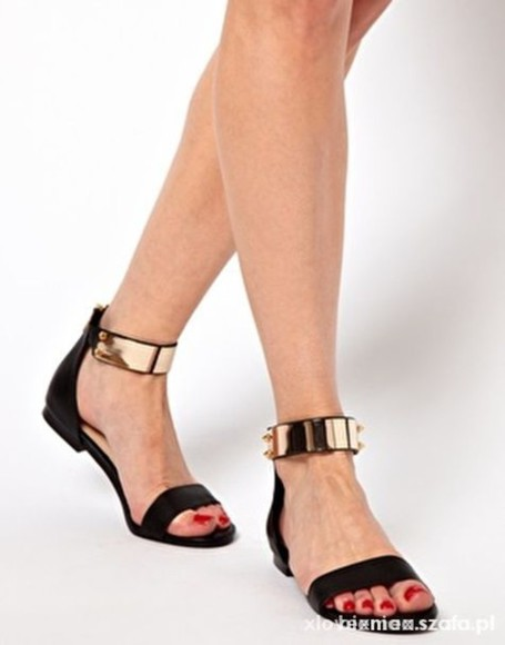 cuff shoes gold cuff gold chain sandals black and gold sandals gold chains
