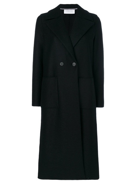 HARRIS WHARF LONDON coat double breasted long women black wool