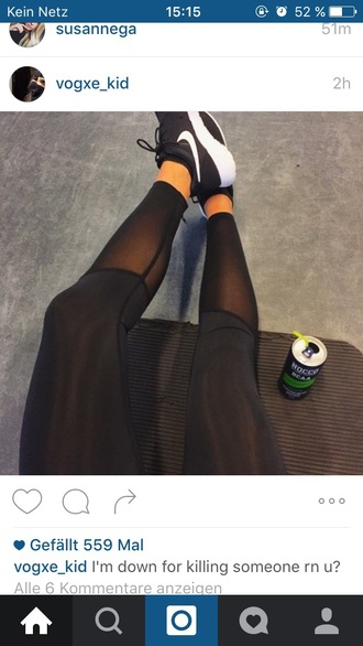 leggings sportswear mesh black all black everything