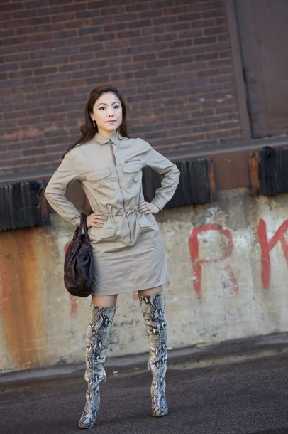 wearing fashion fluently blogger snake print thigh high boots beige dress
