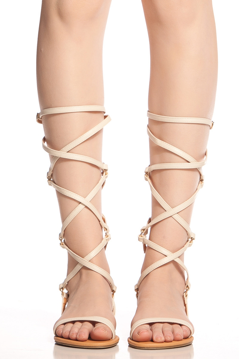 b998caebd Cream Faux Leather Cross Strap Gladiator Sandals   Cicihot Sandals Shoes  online store sale Sandals