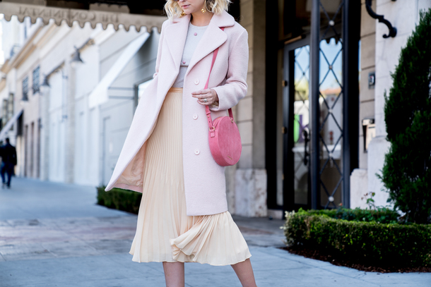 late afternoon blogger coat skirt top bag pink skirt round bag pleated skirt spring outfits pink bag