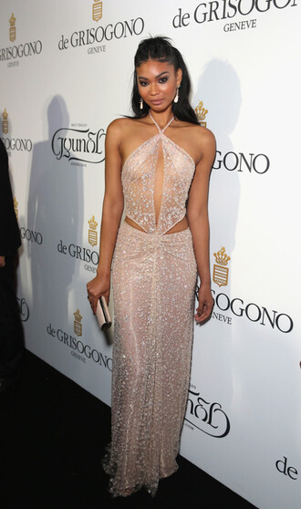 dress gown chanel iman sparkle prom dress cut-out