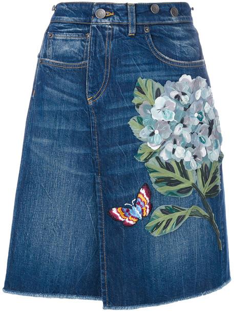 skirt denim skirt denim women cotton blue silk