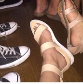 shoes,tan,white,ankle strap,sandals,nude sandals,flat sandals