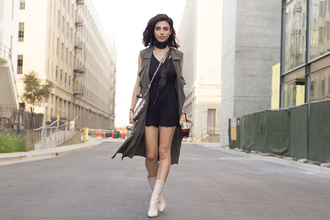 kris chérie blogger shoes romper jacket jewels scarf bag black romper olive green vest duster vest crossbody bag animal print bag white boots high heels boots black choker
