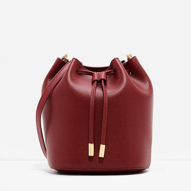 drawstring bag bucket bag red