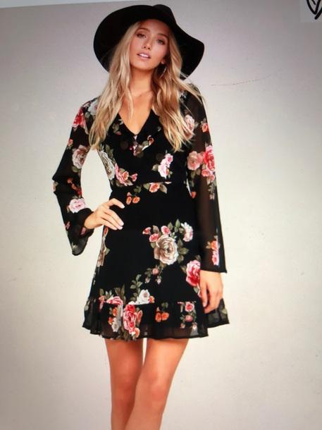 dress black dress floral dress long sleeve dress