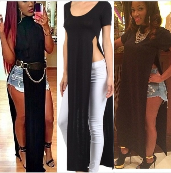 dress t-shirt long t-shirt dress black erica dixon love and hiphop lhhatl blouse