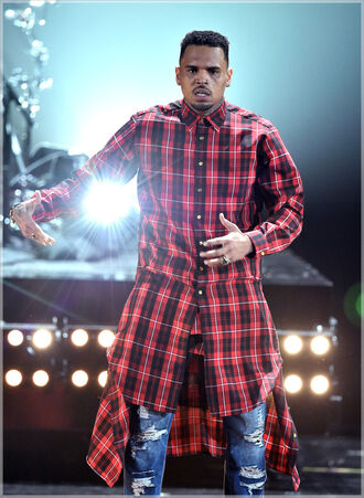 menswear t-shirt chris brown flanel shirt