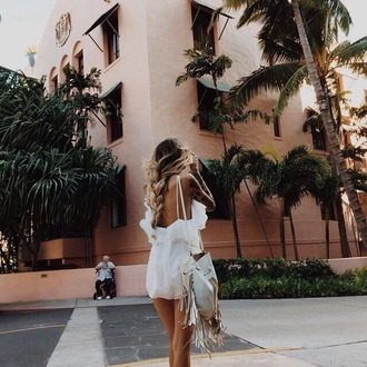 braid hairstyles summer holidays summer outfits white romper romper ruffle boho bag fringed bag fringes boho low back ombre hair ruffle romper