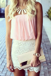 blouse,light pink,flowy,skirt,dress,jewels,summer outfits,sun,glamour,mini shorts,lace up,lace shorts,bag,shorts,tank top,necklace,purse,clutch,top,crochet dress,pink dress,shirt,white shirt,white,style,trendy,white skirt,bodycon,pink top,lace skirt,mini skirt,sleeveless,girly,clothes,lace,gold,white lace skirt,summer,outfit,classic,crop tops,summer top,leggings,strapless nude shirt,white necklace,and nude clutch