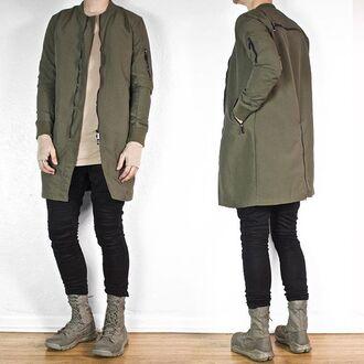 jacket maniere de voir khaki longline bomber jacket 36683