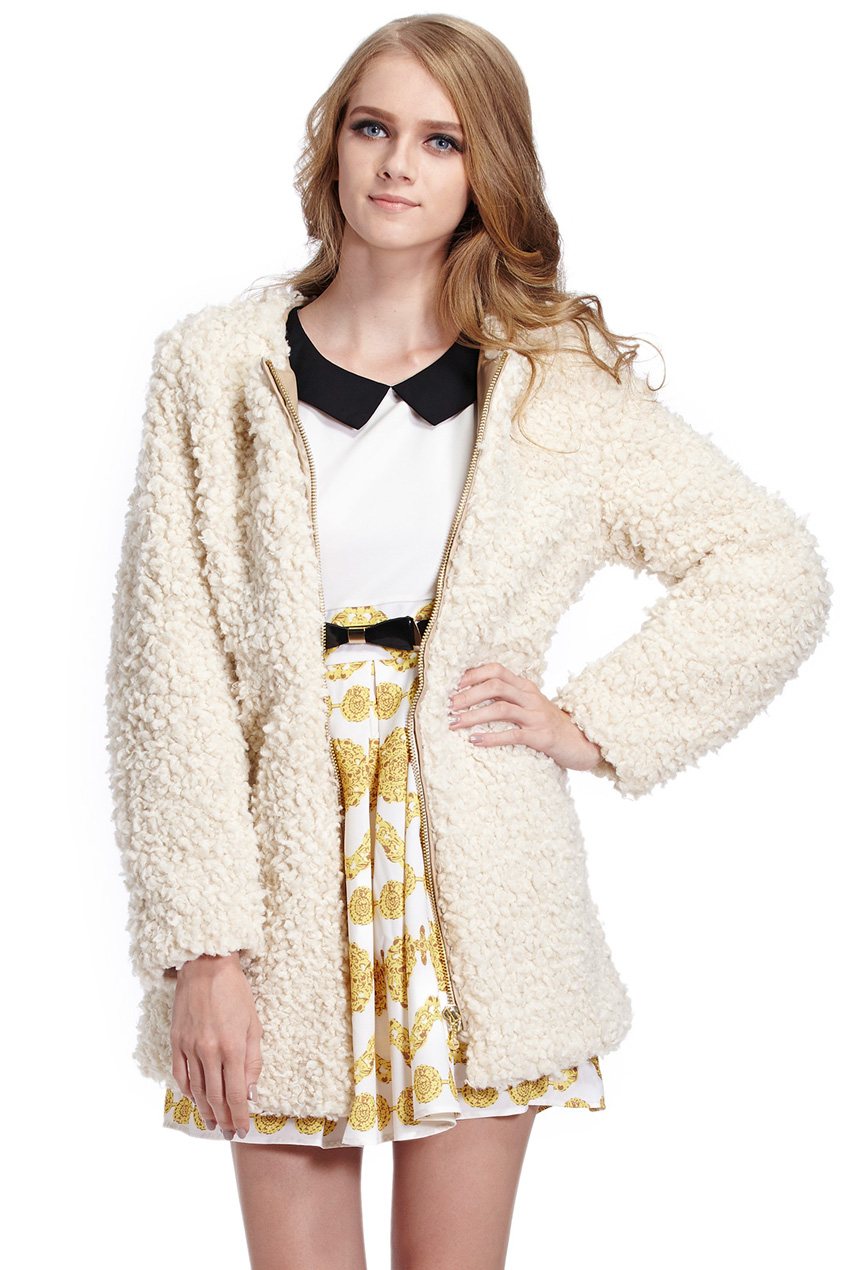 ROMWE | Warmful Golden Zipper Beige Fluffy Coat, The Latest Street Fashion