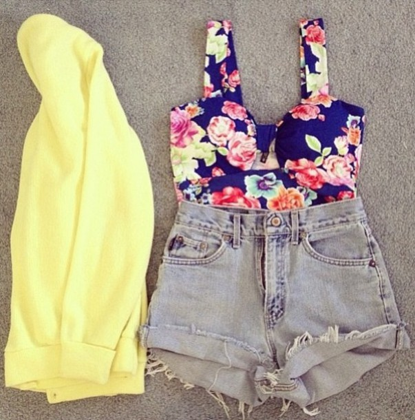 sweater yellow cardigan High waisted shorts grey floral tank top bustier shorts shirt