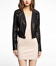 (MINUS THE) LEATHER STUDDED CROPPED MOTO JACKET | Express