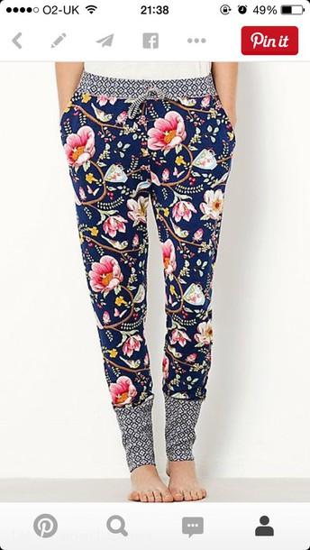 pants floral pants lotus flower leggings flowers navy loungepant printed pants