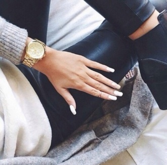 jewels gold watch leather pants black heels boots