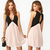 Trendy Girl Sexy Deep V Neck Stitching Back Hollow Chiffon Vest Dress Sleeveless | eBay