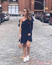 dress,navy dress,tumblr,blue dress,navy,sneakers,white sneakers,one shoulder,ruffle,ruffle dress,bag,nude bag,sunglasses,shoes