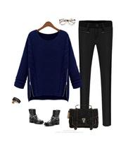 sweater,fashion,streetstyle,side zipper,zip,ribbed sweater,ribed sweatshirt,sweatshirt,dope,navy cardigan sweater