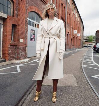 coat brown pants gold shoes tumblr white coat long coat pants boots sunglasses