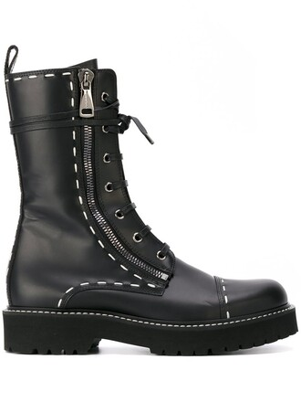 women boots combat boots leather black shoes