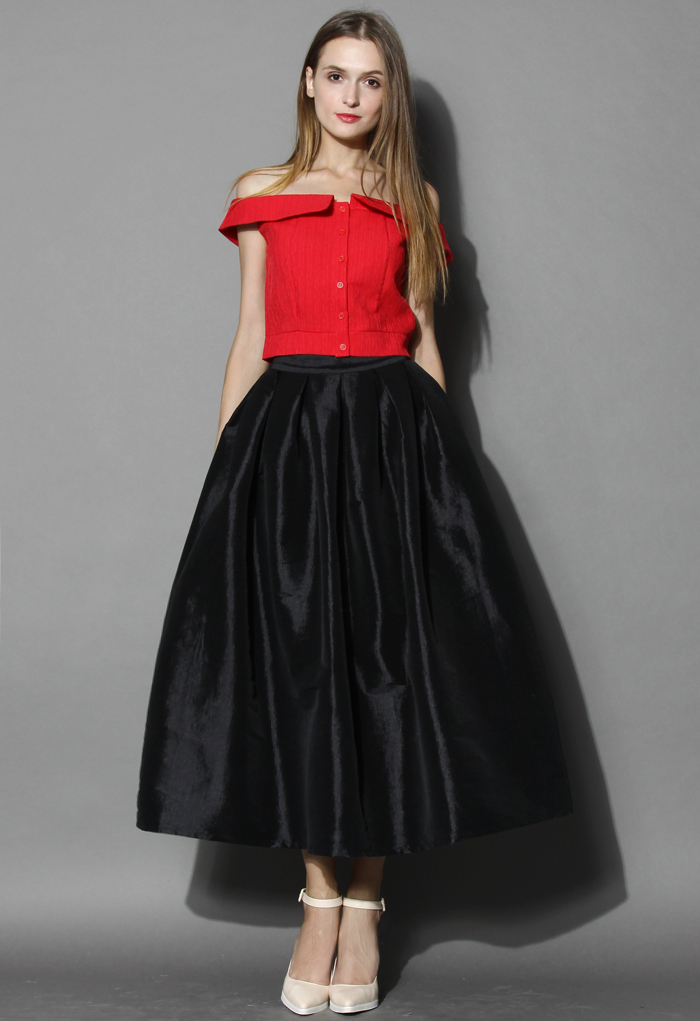 La Diva Pleated Maxi Full Skirt in Black - Retro, Indie and Unique Fashion